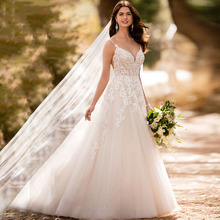 Sweetheart Lace Appliques Boho Wedding Dress A-Line Spaghetti Strap Backless Princess Romantic Bride Gowns