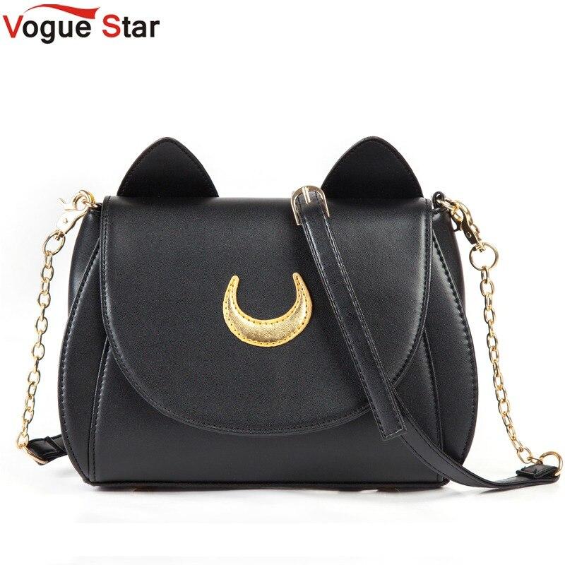Горячая 2018 Лето Limited Сейлор Мун сумка женская сумочка черный, белый цвет Кошка Луна Для женщин Crossbody сумка ya40-67