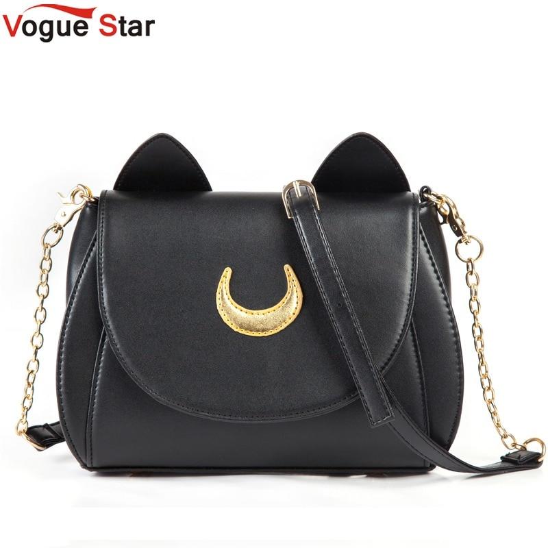 Hot 2017 Summer Limited Sailor Moon Bag Ladies Handbag Black White Cat Luna Moon Women Messenger