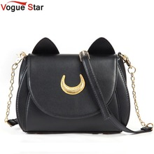Hot 2018 Summer Limited Sailor Moon Bag Ladies Handbag Black White Cat Luna Moon Women Messenger Crossbody Bag YA40-67