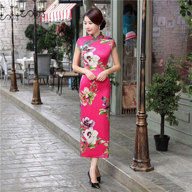 48d7a18e1 Summer Stylish Long Cheongsam Hot Pink Chinese Ladies Elegant Satin Qipao  Novelty Dress Vestidos Size S M L XL XXL XXXL C0064-B