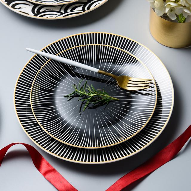 Festive Black&White Ceramic Plate