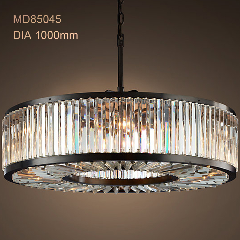 Modern Crystal Chandelier Light Fixture Elegant Round ...