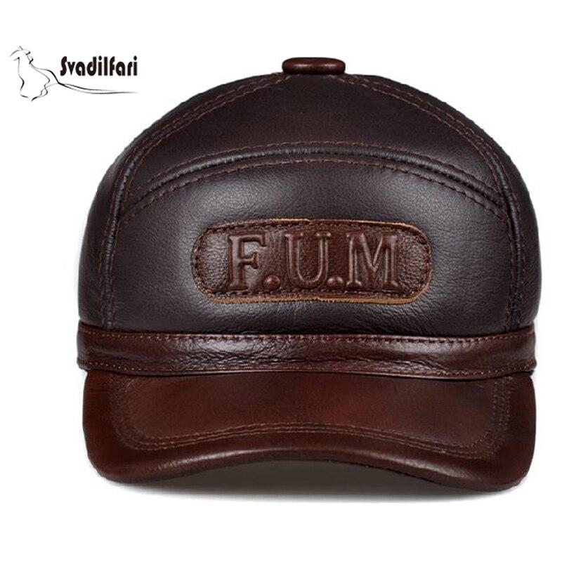 Svadilfari Venta caliente invierno 2018 gorra de béisbol de piel de vaca para papá mamá cuero genuino oreja hombre mujer caliente Casual sombrero