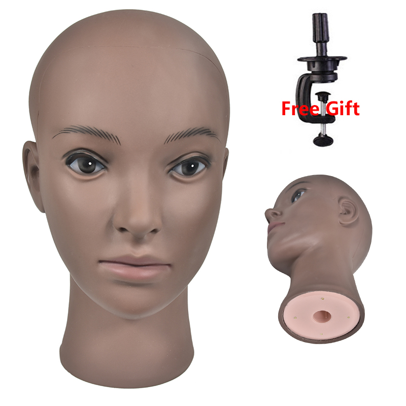 Bald Mannequin Head With Clamp Female Mannequin Head For Wigs Making Hats Display Cosmetology Manikin Head For Makeup Practice new 2pcs female right left vivid foot mannequin jewerly display model art sketch