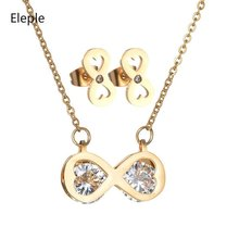 Eleple Fashion Love Zircon Stainless Steel Jewelry Sets for Women Elegant Party Gifts Necklace Earring Set Wholesale S-S011 цена и фото