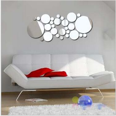 Fashion Mirror Wall Sticker 3d 30pcs Circle Stickers Acrylic Vinyl Decal Home Office Art Surface Multi-piece Package Home Decor