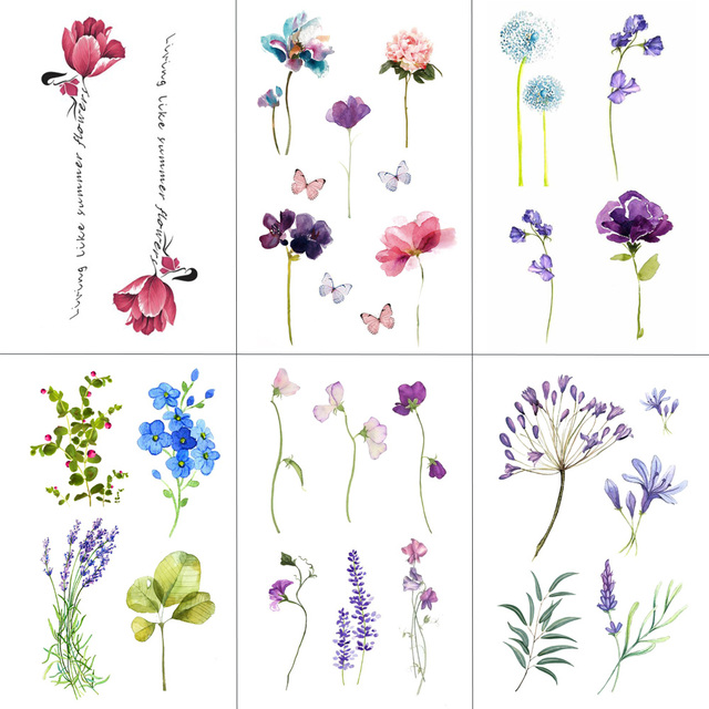 Flower Temporary Tattoos for Women Hand Tattoo Sticker Fashion Body Art Waterproof Arm Fake Tattoos Paper