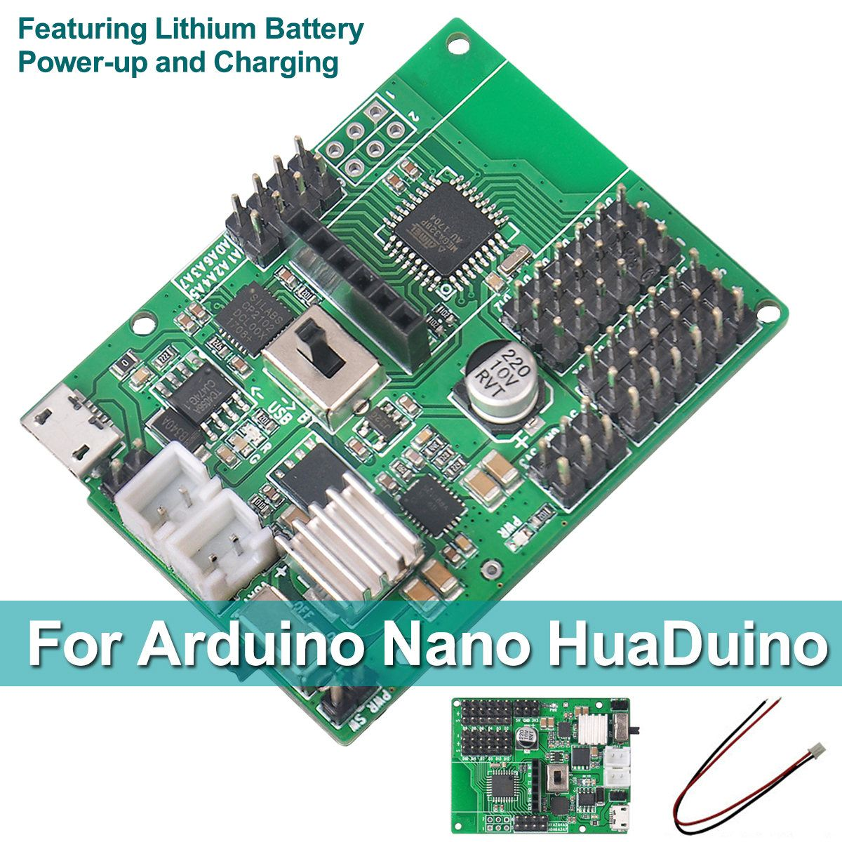 For Arduino for Nano HuaDuino Robot Trolley Programming Development Board Battery Power-up and ChargingFor Arduino for Nano HuaDuino Robot Trolley Programming Development Board Battery Power-up and Charging