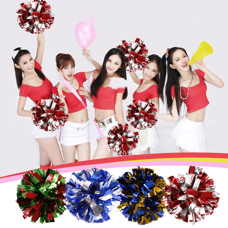 Free Shipping Rose Mix Blue Single Paragraph Cheerleading Pom Poms Cheerleading Cheer Supplies#1837