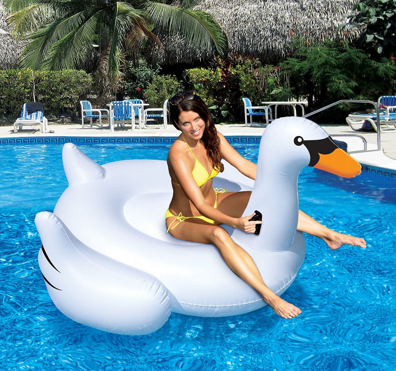 DHL Summer 60 inches International Leisure Giant Swan Swimming Water Lounge Pool Kid Giant Rideable Swan