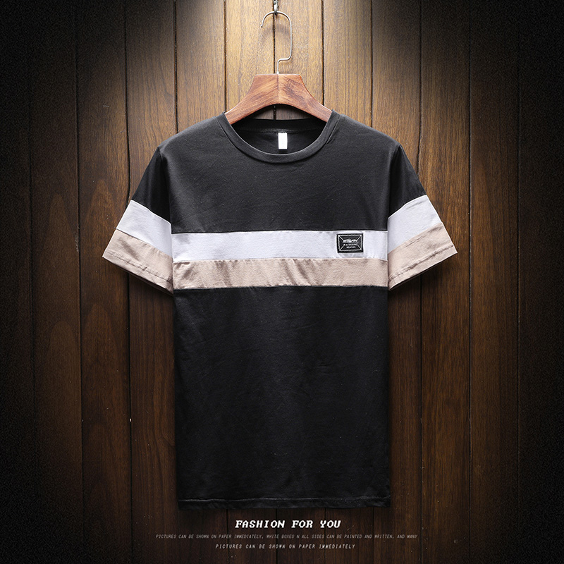 2018 Brand clothing short sleeve summer Korean fashion high street style  men t shirt cotton striped plus size XXXL male tee T102-in T-Shirts from  Men s ... 27bcb9283408