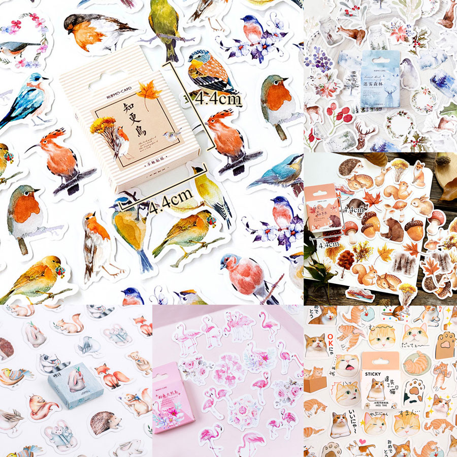 46pcs/box Robin Birds Stickers Cute Colorful Decorative Adhesive Paper Stickers Girls Decorations Scrapbooking Material Escolar