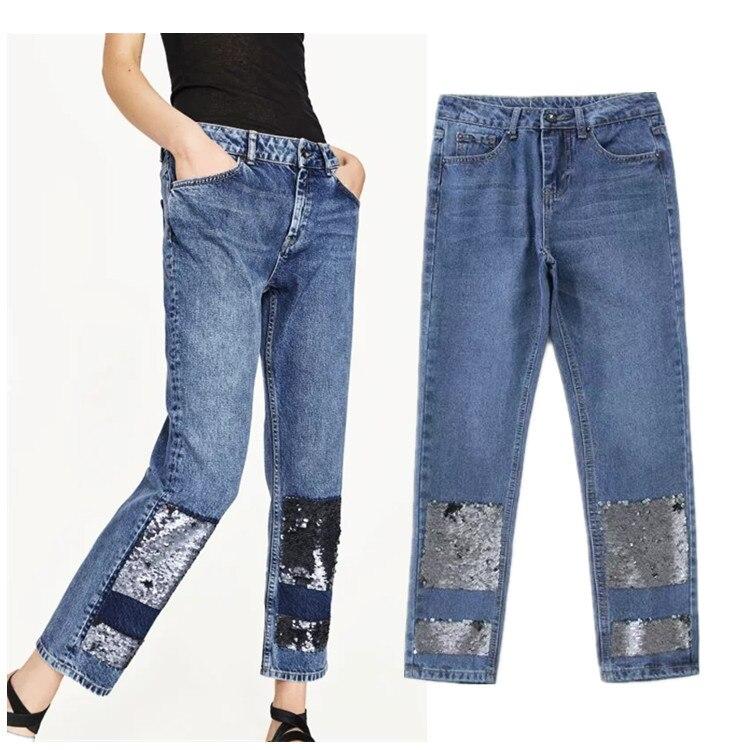 0418 Denim boyfriend jeans for women bottoms female jeans pants Blue patchwork casual pants capris Pocket straight jeans