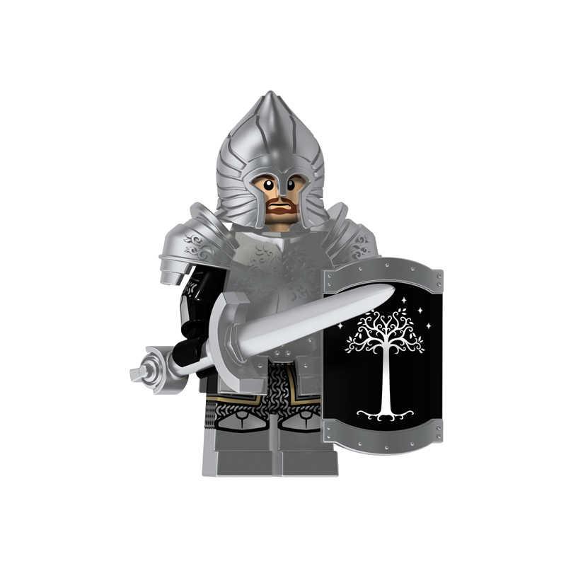 Одиночная продажа Властелин колец фигурки Рыцарь Солдат Гондора тяжелое копье меч оружие строительные блоки кирпичи игрушки