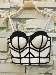 Image 2 - Fashion Geometric Womens Push Up Bustier Wedding Party Corset Cropped Top Plus Size 4 Colors S XL