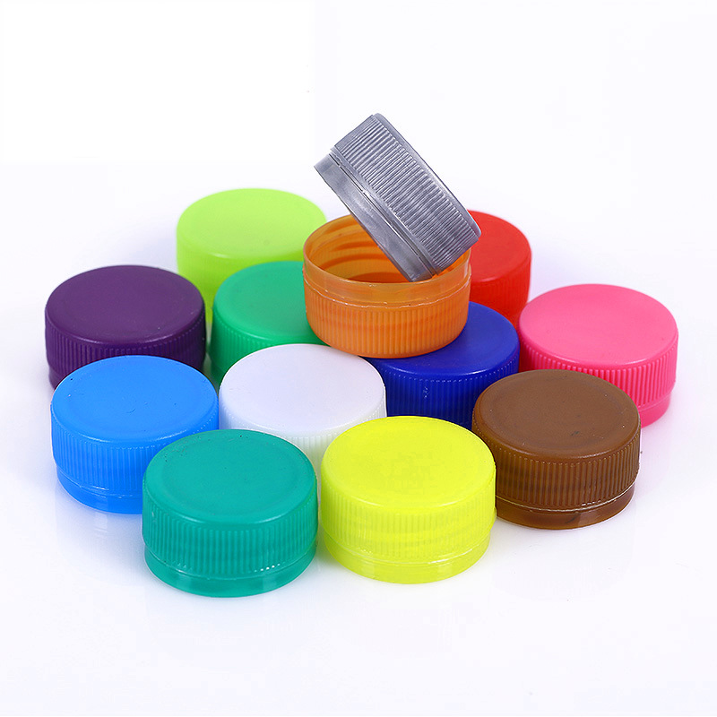 100PC/Pack Colored Plastic Flat Bottle Caps Kindergarten Handmade Arts Crafts Materials Kid DIY Creative Hand Painting Supplies