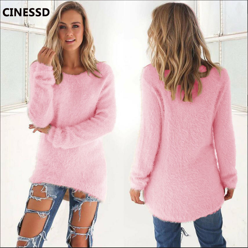 CINESSD Solid Pullover Sweaters Women O Neck Long Sleeve Knitted Tops 2019 Autumn Winter Cotton Wool Loose Casual Tunic Sweaters