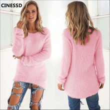 CINESSD Solid Pullover Sweaters Women O Neck Long Sleeve Knitted Tops 2019 Autumn Winter Cotton Wool Loose Casual Tunic