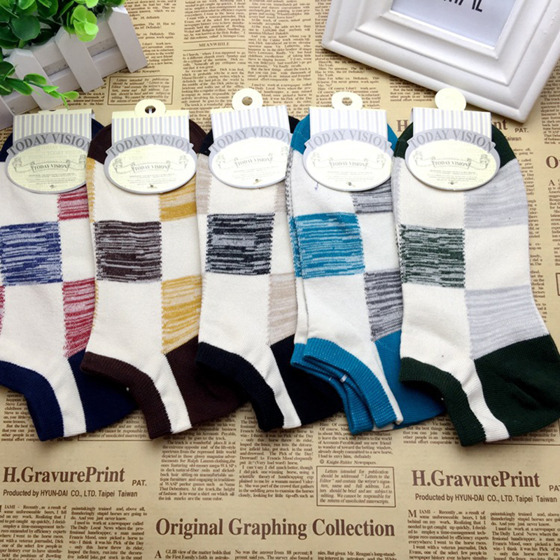 5pairs /lot Ankel socks for men Stitching color Spider Male short sock colorful hiphop S ...