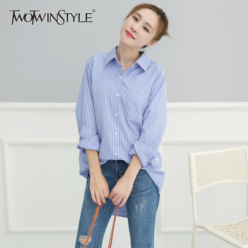 TWOTWINSTYLE Basic Shirt Tops Female Striped Long Sleeve Plus Size White Blouse For Women Spring Summer 2018 Fashion OL Clothing