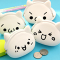 Fashion Lovely White Cat Cute Design Child Wallets Silicone Women Round Coin Purse Wallet Portable Lady Card Key Phone Bag Case
