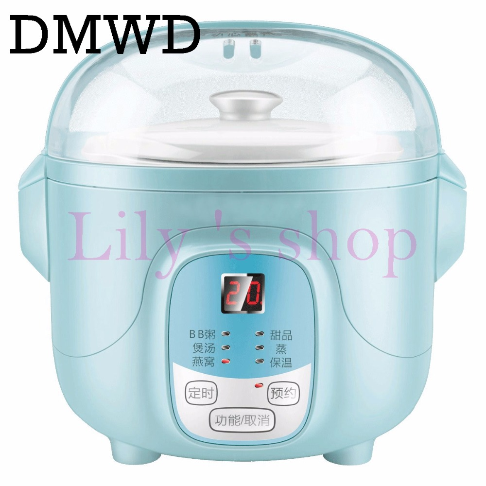 DMWD Multifunction slow cookers Water Stewing Soup Porridge Pot Ceramic Whiteware Liner timing eggs steamer food cooking machine dmwd household electric mini slow cooker 140w mini mechanical timer stewing soup porridge pot ceramic food cooking machine 1 5l