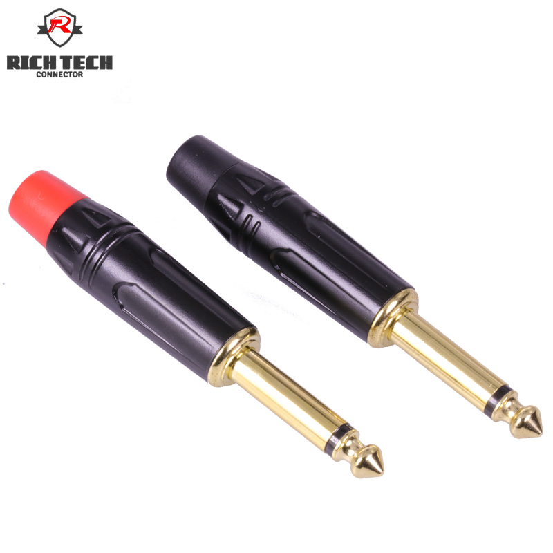 """50pcs/25pairs 1/4"""" Jack 6.35mm High quality Gold plated Audio Plug 6.35mm connector Mono microphone Plug Assembly adapter-in Connectors from Lights & Lighting"""