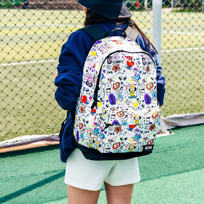 New Kpop BTS BT21 Bangtan Boys Group The Same Canvas Students Bag Fashion TeenageTravel Laptop Bag White Cartoon School Bags