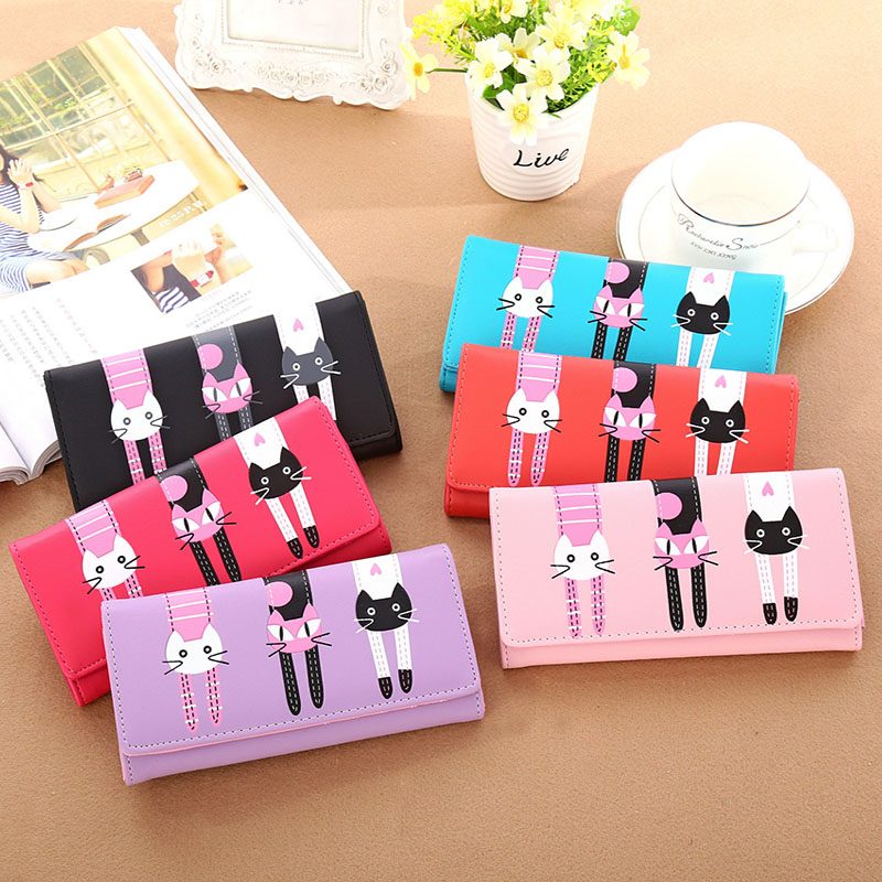 New Women Cat Cartoon Wallet Long Creative Card Holder Casual Ladies Clutch PU Leather Coin Purse new europe women pure wallet long creative female card holder casual zip ladies clutch pu leather coin purse id holder