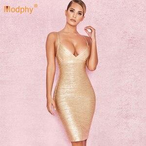 Image 2 - 2020 yeni yaz altın bandaj elbise Bodycon Vestidos spagetti ünlü pist elbise seksi kulübü kostüm partisi elbise