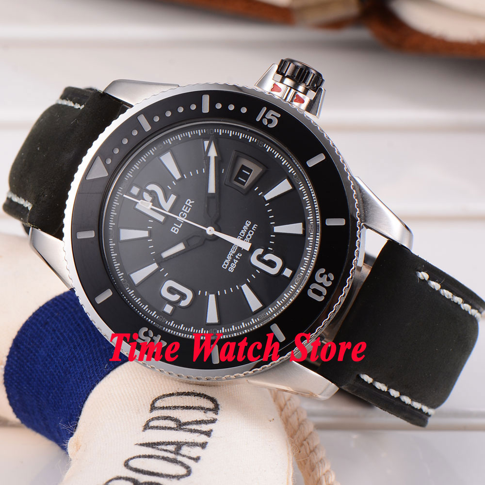 43mm Bliger black dial luminous black ceramic bezel 21 jewels MIYOTA 8215 Automatic movement Men's watch 188 цена и фото