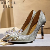 ORCHA LISA 2019 Silver Crystal Glitter Wedding Shoes woman Ladies High heels pumps Female Pointed toe 9cm Stiletto heels bridal