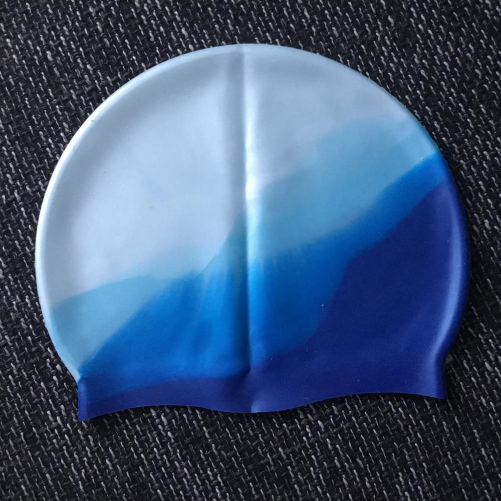 Gradient Adult Silicone Swim Caps Ear Protect Rubber Swimming Waterproof Hat Swim Cover Radius 19-22.5CM Swim Accessories