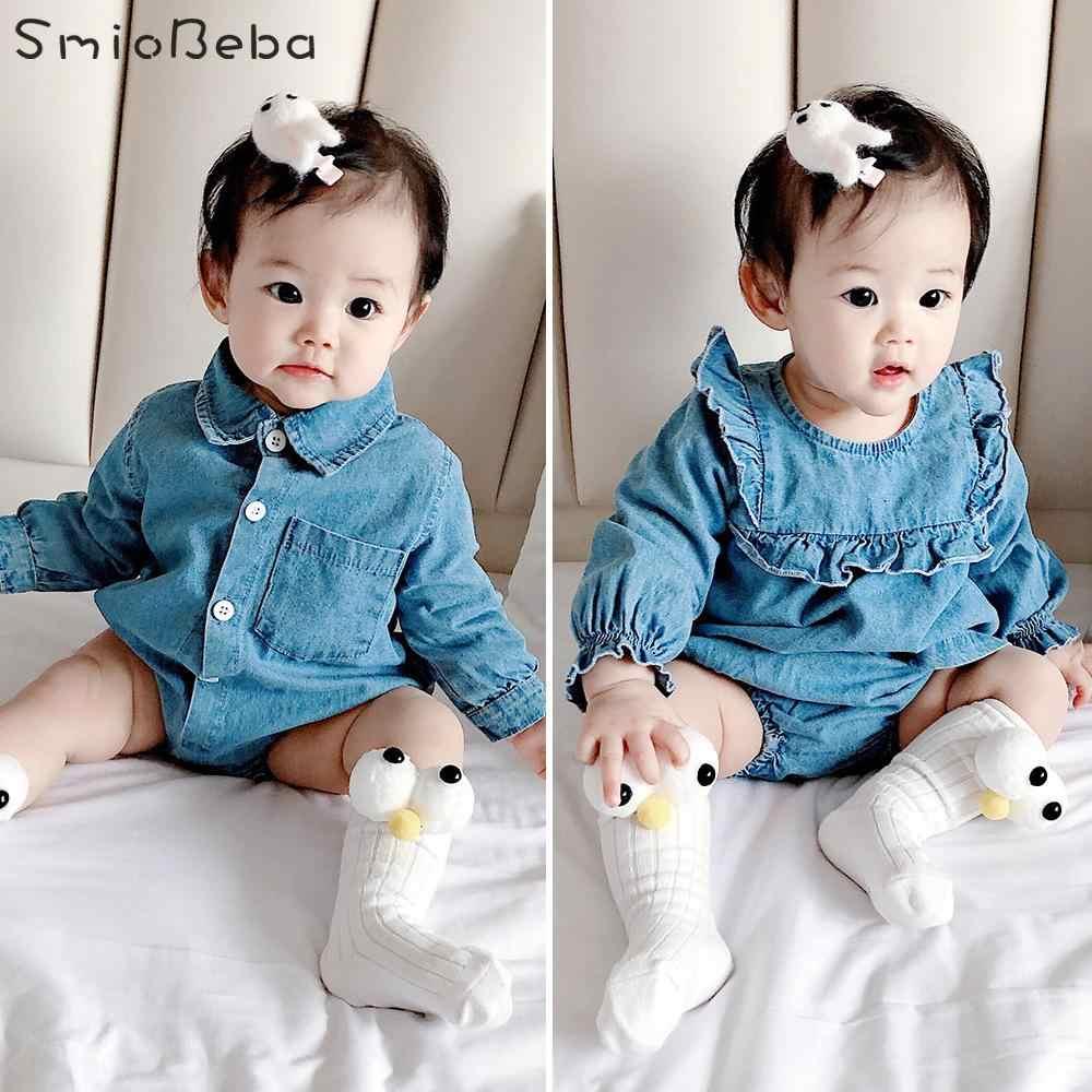 Moda Tırmanma tulum takımı Bebek Erkek Kız Gömlek Yaka Yenidoğan Jean Kovboy Tulum Kız Kardeş Brother Triangula rRompers
