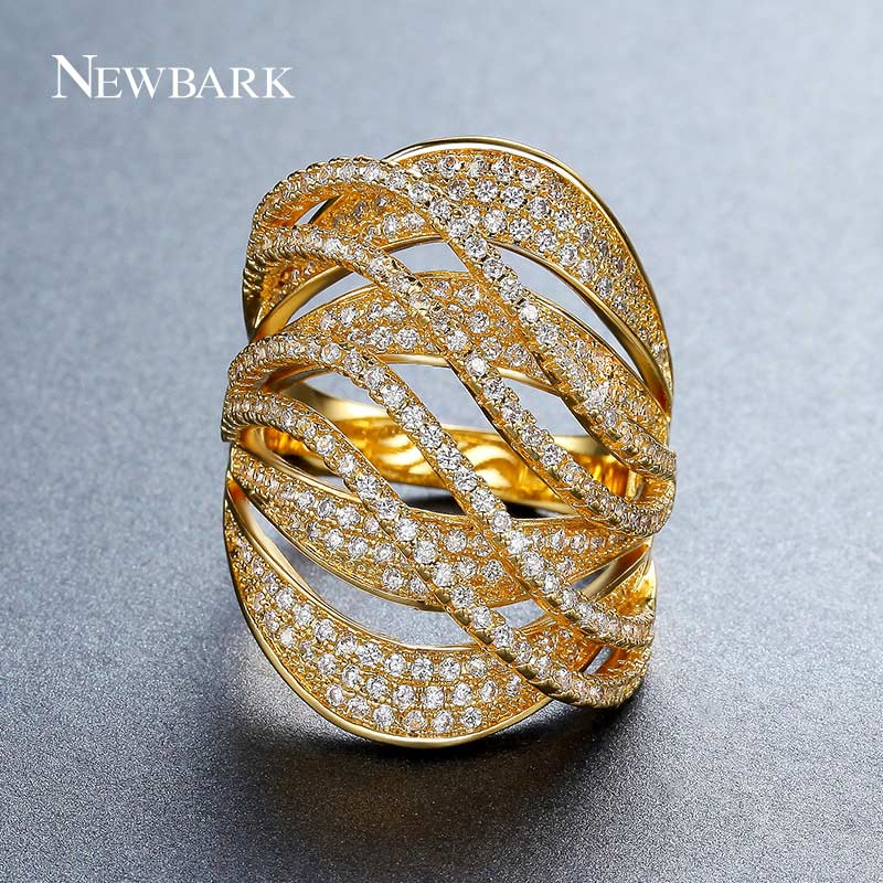 все цены на NEWBARK Gold Color Wide Rings Multilayer Full Finger Ring For Women Jewelry Best Shining AAA Cubic Zirconia Stone Cocktail Ring