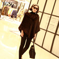 Real mink fur coat knitted patchwork solid o-nevk covered button women fashion slim fox shawl collar sleeveless short paragraph