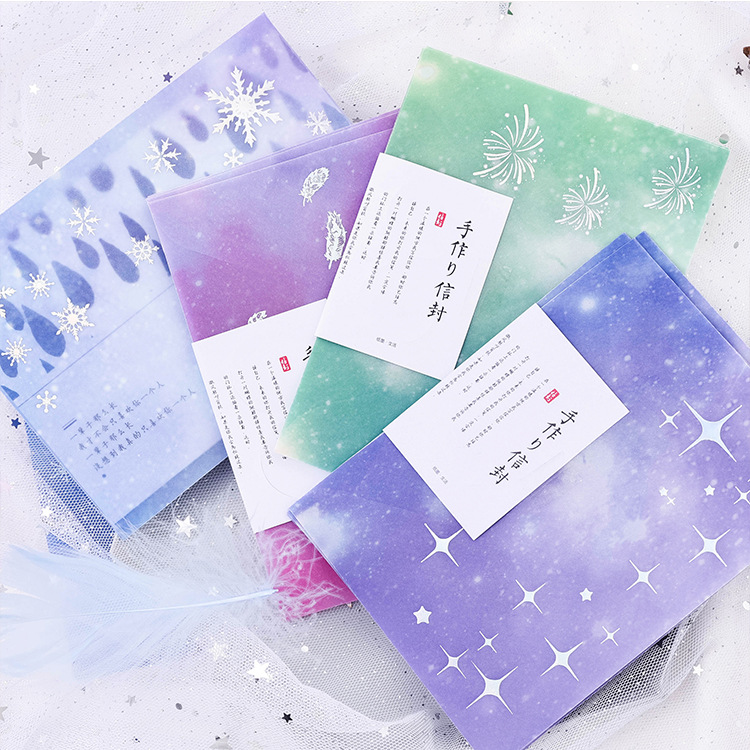 3PCS/PACK Kawaii Cute Litmus Paper Snow Feather Star Silver Envelope Transparent For Gift Wedding Card Scrapbooking Party Sl1755