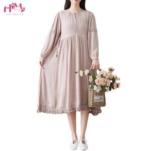 Vintage Tassel Hem seda algodón de manga larga vestido acogedor 2018 primavera mujeres largo vestido suelto alta Cordón de cintura vestido Tallas grandes