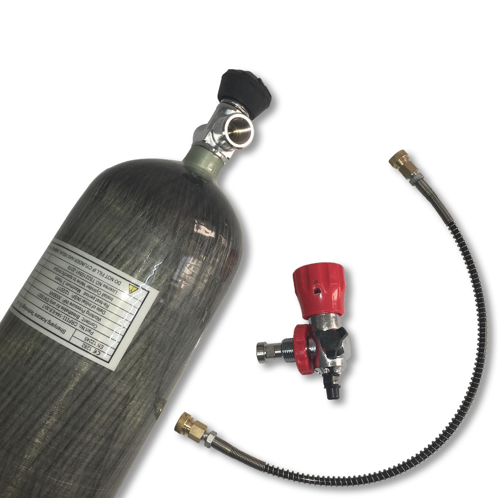 AC168301 6.8L Mascara Paintball Air Gun Pcp Air Tank 300bar Compressed Air Cylinder Scuba Diving Tank Co2 Gauge Valve  ACECARE