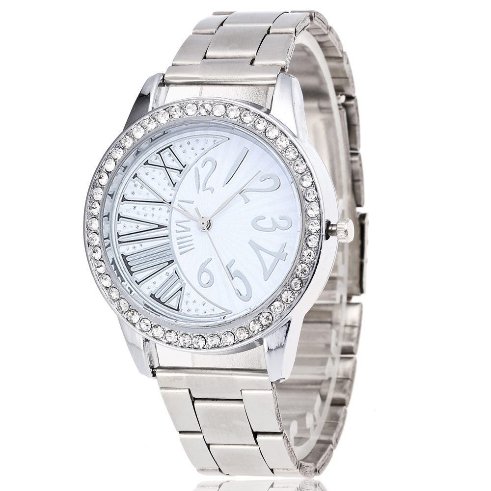 Brand Women Watches Fashion Men's Watch Silver Lovers Watches Luxury Stainless Steel Dial Quartz Watches  Crystal Clock Female
