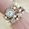 Flor de La Perla Pulsera de Cuarzo Reloj de Pulsera Mujeres Del Reloj de Señoras de Los Relojes de Marca de Lujo Famosos Mujer Del Relogio Feminino Montre Femme
