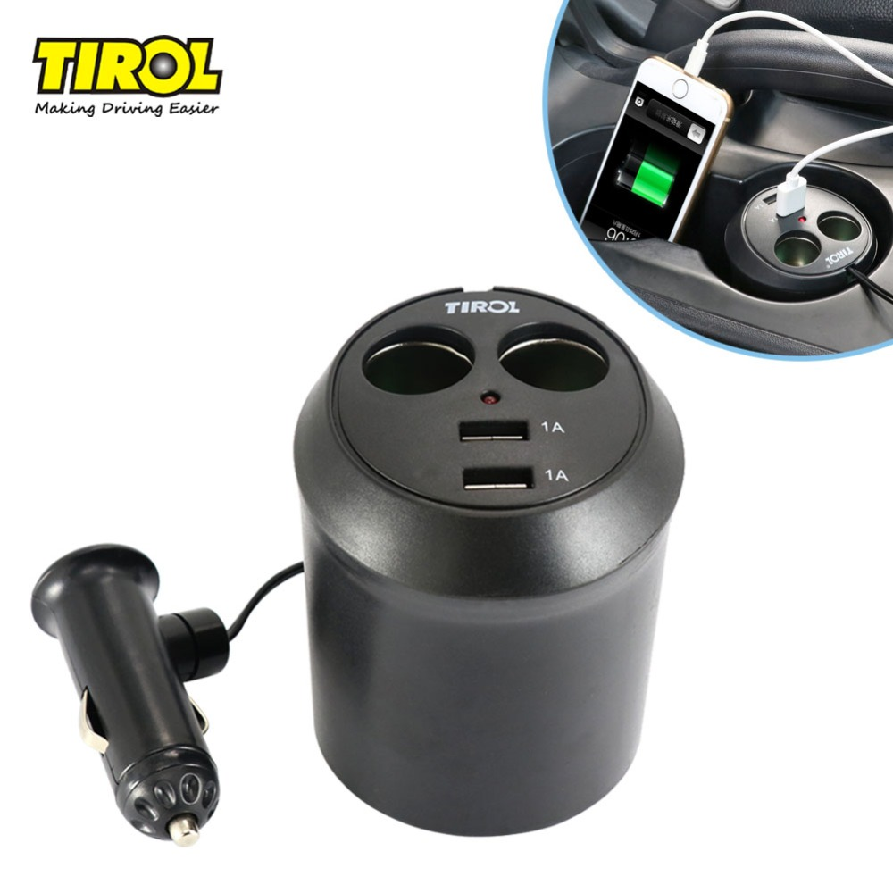Tirol T16313a Baru 12 V 2 Way dengan 2 USB Cup Holder Auto Rokok Splitter Power Adapter 5 V / 2A Charger Mobil Gratis Pengi ...