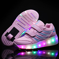 New 2017 Cheap Child Girls Boys LED Light Roller Skate Shoes For Children Kids Glowing Sneakers With Wheels tenis de rodinha