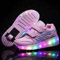 Novo 2017 Cheap Roller Skate Criança Meninas Meninos do DIODO EMISSOR de Luz sapatos Para Crianças Dos Miúdos Tênis Brilhantes Com Rodas de tenis de rodinha