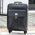 First layer of cowhide genuine leather commercial luggage trolley luggage travel bag luggage male suitcase,16 20 24 black bags