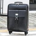 Primeira camada de couro do couro genuíno comercial bagagem bagagem do trole saco saco de viagem bagagem mala masculino, 16 20 24 preto sacos