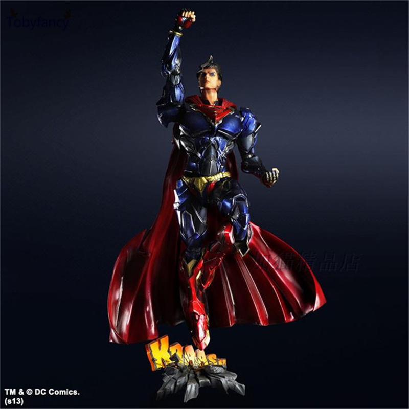 Tobyfancy Superman Play Arts Kai Action Figure Movable Justice League PVC Toys 260mm Anime Model Superman Playarts Kai xinduplan dc comics play arts kai justice league batman reloading dawn justice action figure toys 25cm collection model 0637