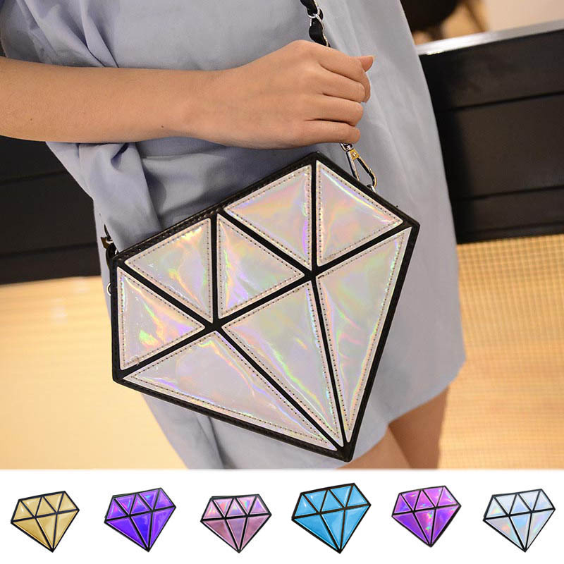 Nueva Moda Bolso Femenino de Señora Forma De Diamante Cadena de Bolso de Las Muj