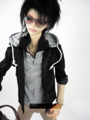 [wamami] 528# Black Hoodies Coat Jacket 3PC Suit/Outfit 1/3 SD DZ DOD AOD BJD Dollfie [wamami] black leather clothes suit for 1 3 sd aod dod dz bjd dollfie